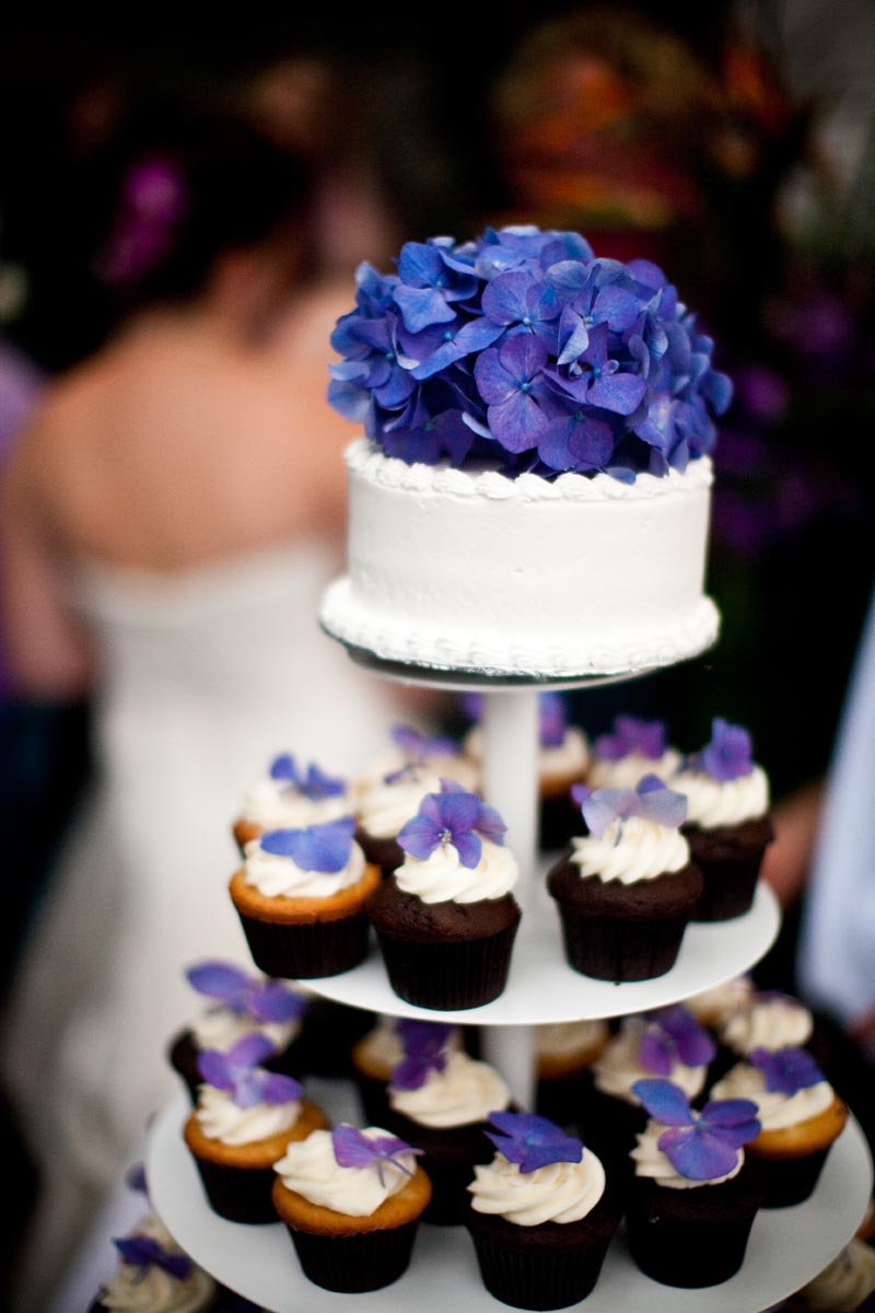 Purple Hydrangea Wedding Cake